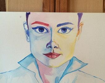 Audrey, watercolor painting, original, 12x18