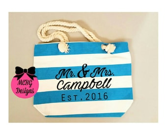 Mr. and Mrs. Est date Personalized Beach bag, Mr. And. Mrs. Est., wedding gifts, anniversary gifts, honeymoon gifts, beach totes, beach bags