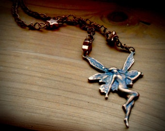 Copper Fairy Necklace with Stars