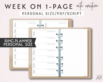 PERSONAL Size Week on 1 Page with variation WO1P - Printable Ring Planner Insert - Script Theme