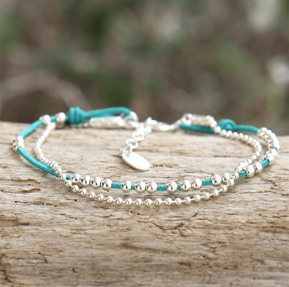 Bracelet cordon to choose beads and 925 sterling silver ball chain