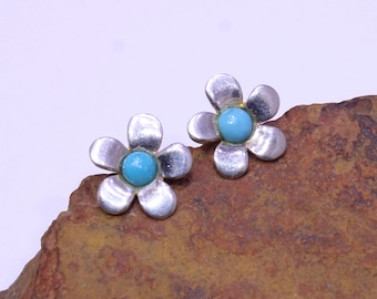 Flower Studs, Turquoise Studs, Blue Stone Stud Earrings, Stud Earrings, Gemstone Stud Earrings, Natural Arizona Turquoise
