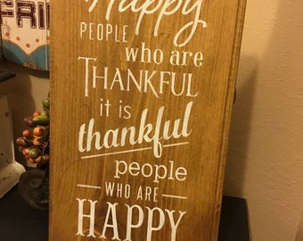 Happy People, Chalkboard Art, Typography,Word Art, Primitive Wood Wall Sign