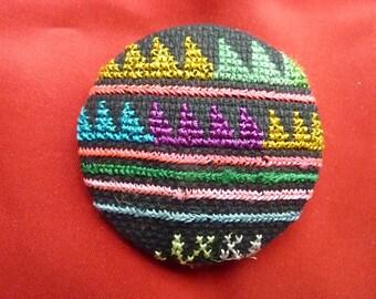 Multicolor ethnic embroidery button * 5 cm * handmade