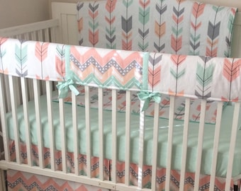 Coral Gray and Mint Arrows Crib Bedding Blanket Sheet and Skirt ONLY