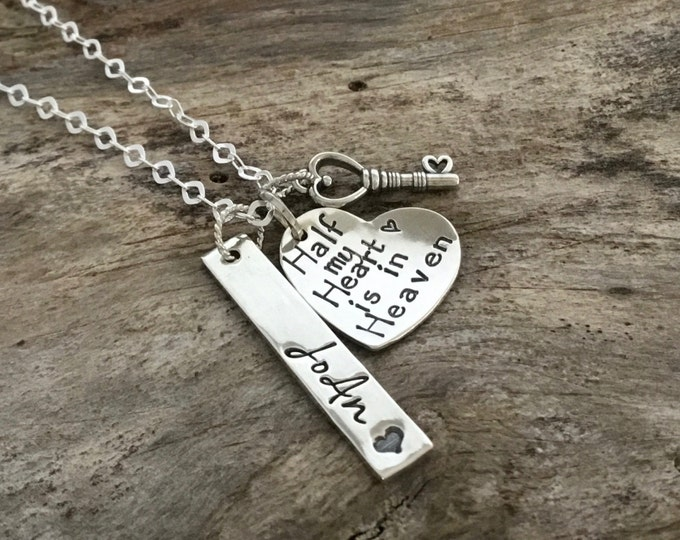 Memorial Necklace. Personalized MEMORIAL JEWELRY. Key necklace, memorial gift, heart jewelry. STERLING Silver. Half My Heart is in Heaven