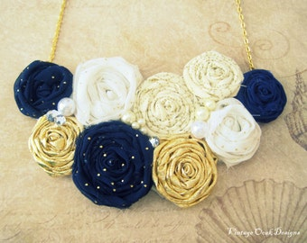 Nautical Rosette Necklace, Rosette Statement Necklace, Rosette Jewelry, Rosette Bib Necklace, Gold,Navy Rosette Necklace,Fabric Jewelry