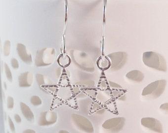 Sterling Silver Star Earrings, Star Earrings, celestial earrings, gift for star lover,