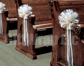 Church aisle decor etsy wedding aisle decorations ivory tulle wedding pull bows for church pews 9 wide junglespirit Images