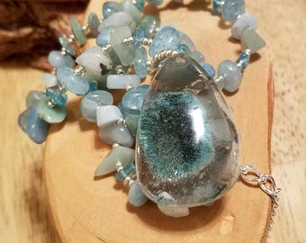 Teal Waters aqua blue quartz teardrop pendant and gemstone chip one of a kind adjustable necklace