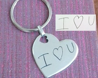 Double sided Handwriting Heart Keychain. Your actual loved ones signature or handwriting. Fine Silver