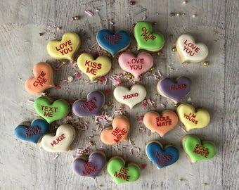 Conversation Heart Mini Cookies