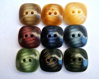 54 Buttons, 9 colors, vintage, square, 16mm, unique set