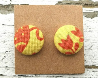 """Fabric Button Post Earrings - Yellow and Orange Floral Abstract Pattern - 5/8"""""""