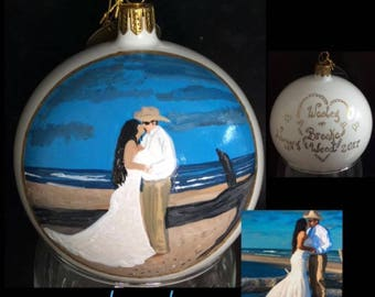Painted Portrait Ornament Custom Painted Family Portrait Wedding Engagement Christmas Bulb