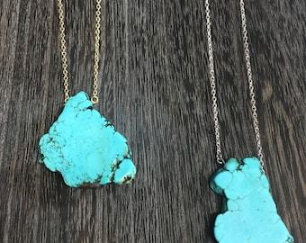 Turquoise Slab Nugget Necklace, Turquoise Slice necklace, Turquoise Stone, Turquoise Pendant, Statement Necklace, Pendant Necklace Turquoise