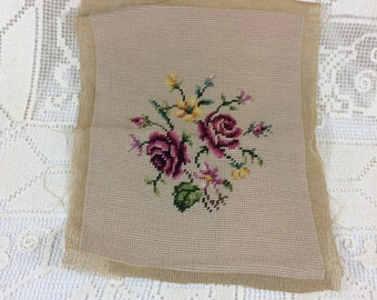 Vintage Rose Needlepoint 1950's Finished Needlepoint for Framing or Pillow