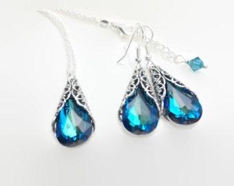 Bridal Jewelry - Bridesmaid Jewelry- Blue Bridesmaid - Something Blue - Antique Bridal Jewelry - Bridesmaid Jewelry Set - Bermuda Blue