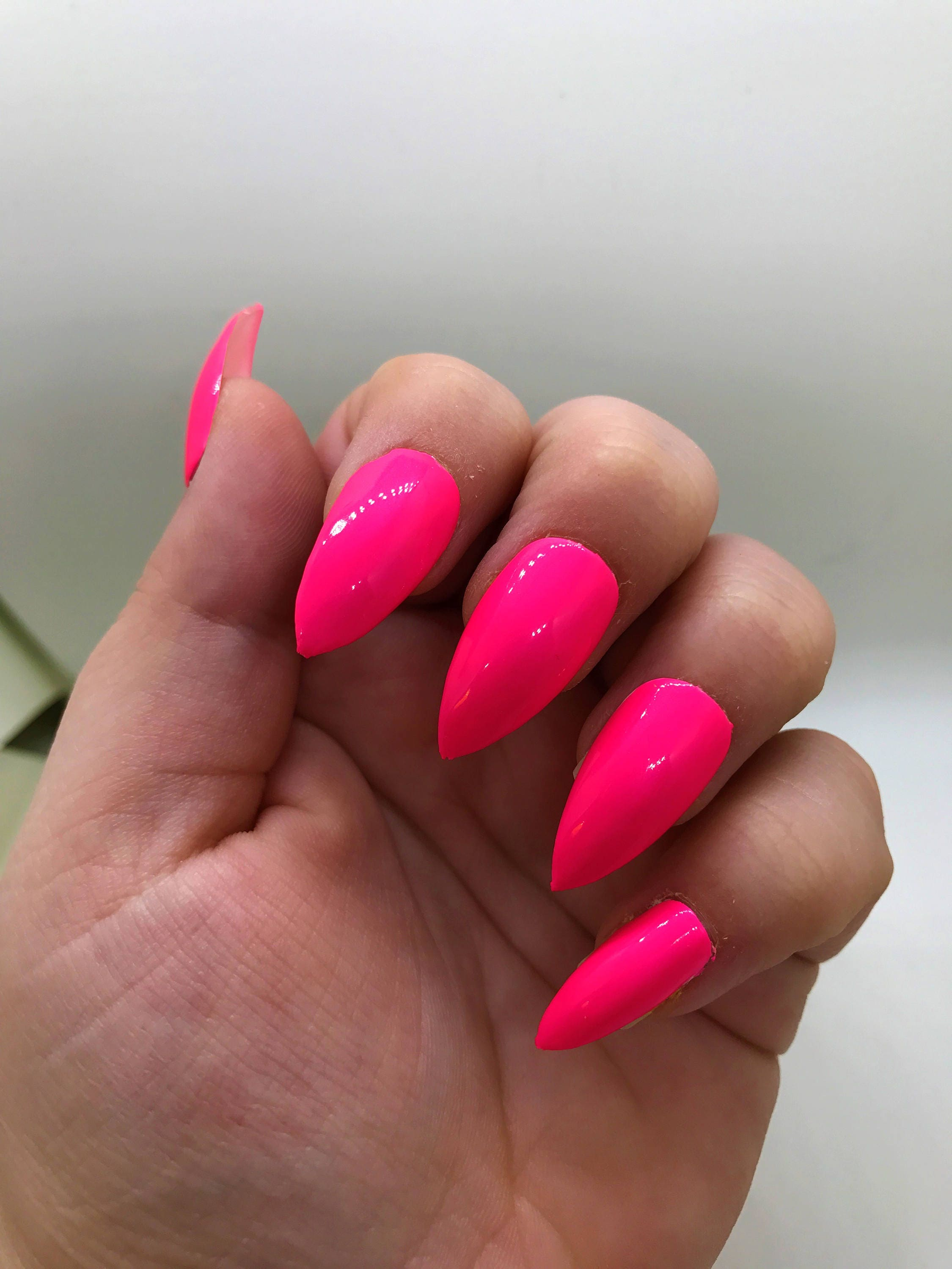 Hot Pink Fake Nails | Neon Pink Nails | Press On | Glue On Nails ...