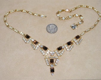 Vintage Signed Albion Necklace Elegant Clear & Brown Topaz Rhinestones 1950's Jewelry 185