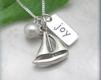Sailboat Necklace, Joy, Graduation Gift, Inspirational Quote, Friendship Necklace, Sterling Silver, Nautical Jewelry, Ship, Boat