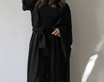 Long kimono with pagoda sleeves, black veil - Unique Piece