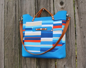 Chic Modern Sateen Cotton and Canvas Leather Strap Handbag, Shoulder Bag