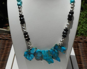 Bib Style Beaded Necklace, Adjustable Necklace, Picture Jasper Necklace, Blue Necklace, Gift for Her, Chunky Necklace, Statement Piece