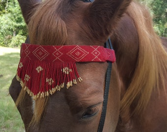 Red and Gold Fringe Seed Beaded Equine Browband -  Native American Style Horse Brow Band - American Indian Style Tack