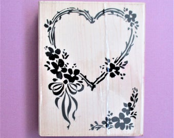 Large Heart Frame Rubber Stamp Destash Craft Supply Card Making Bridal Shower Anniversary DIY Party Invitation Stamping Scrapbooking Supply