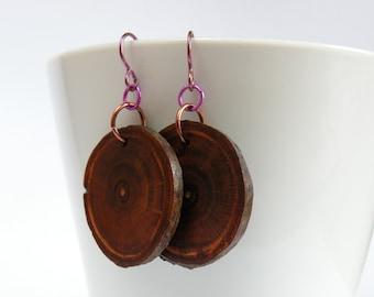Plum Wood Slice Earrings - Red and Purple Earrings - Statement Earrings for Her - Natural Wood Earrings - Hypoallergenic Niobium Ear Wire