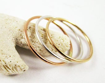 Stackable Ring Set (3) 1 Sterling Silver and 2 Yellow Gold Filled Ring, Plain Ring, Stacking Ring, Thin Rings, Dainty Ring