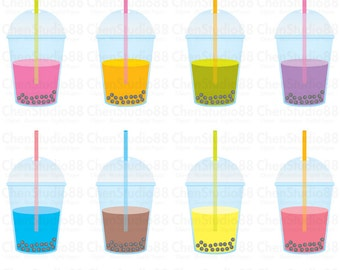 Bubble tea vector - Digital Clipart - Instant Download - EPS, PNG files included