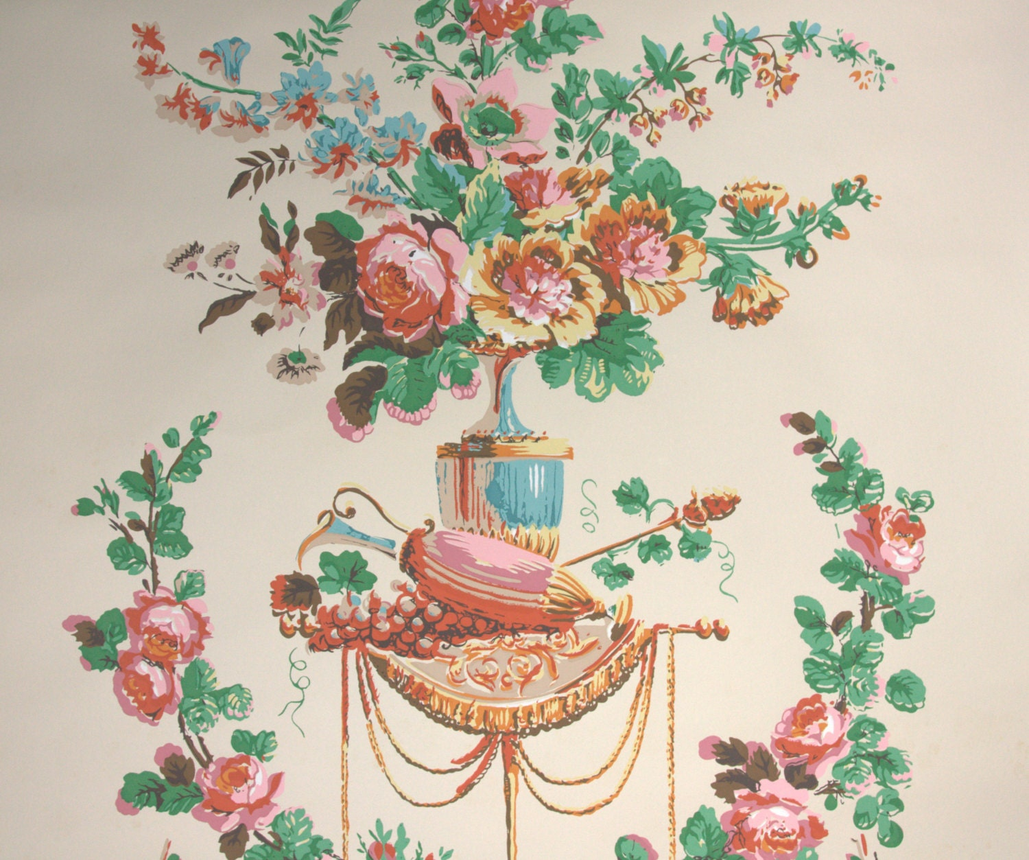 1950s Vintage Wallpaper By The Yard Victorian Floral