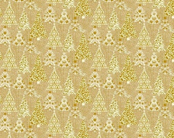 By The HALF YARD - Homespun Holiday by Bristol Bay Studio for Benartex, #P4683M33B Metallic Gold and White Christmas Trees on Textured Gold