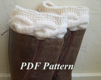 Cable knit Boot Cuffs Pattern, Boot cuffs tutorial, Easy Knit and Crochet PDF Pattern, Cable knit Legwarmer pattern, boot toppers tuto