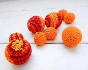 Crochet beads, wooden beads, orange beads, set of ten, handmade beads, jewelry making supplies, cute beads, hand beading, crochet covered