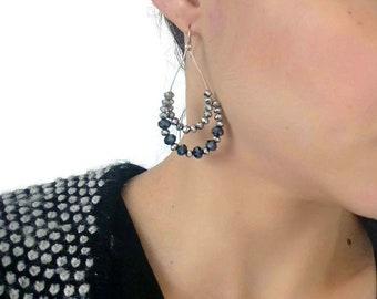 Crystal earrings, Beaded earrings, Black earrings, Sparkle earrings, Dangle earrings, Elegant earrings