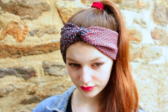 Headband-Turban hair Retro blue - Brown Jersey and Viscose printed bubbles and mosaic. Wide headband
