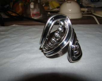 1-B Stamped Sterling Mexico  Hinged Bracelet