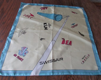 Vintage  Airlines Scarf Silk 12 Airline  Souvenir Scarf KLM Swissair Aviation