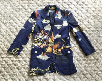 Women ICEBERG HISTORY Full Print World Made In ITALY One Button Blazer Jacket