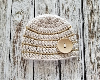 Newborn Baby Hat, Crochet Knit Linen and Khaki Stripes Newborn Baby Boy Hat Beanie with a Wood Button, Ready to Ship