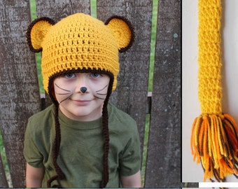 Kids or Adult Lion Cub or Lioness Halloween Costume - Crochet Earflap Hat and Tail Set - Childrens Accessories by Julian Bean