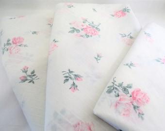 Twin Sheet Set - Vintage Pink Roses Twin Sheet Set - Cottage Chic Pink Roses Sheet Set - Shabby Chic Pink Rose Sheet Set