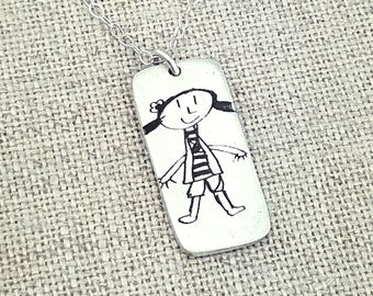 Personalized Your Childs Art Gift - Kids Drawing Necklace - Gift for Her - Handwritten Necklace -  Handwriting - Handwriting Jewelry