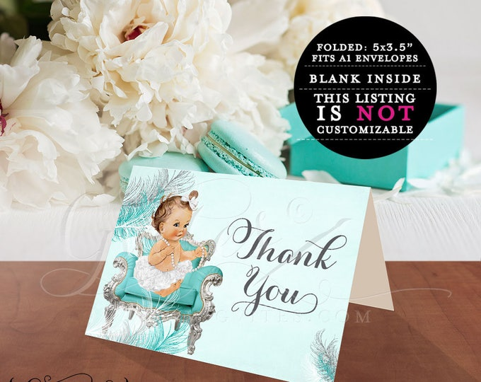 """Baby thank you cards, ribbons bows, diamonds pearls, baby girl, silver turquoise blue, baby thank you cards. 5x3.5"""" 2 Per/Sheet"""