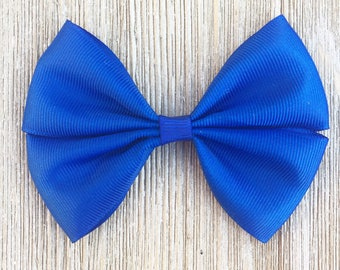 Blue Stacked Grosgrain Ribbon Hairbow for Girls Back to School everyday wear on Barrette , Clip or Baby headband