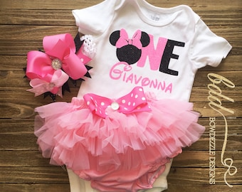 First Birthday Minnie Mouse Tulle Bloomer Set