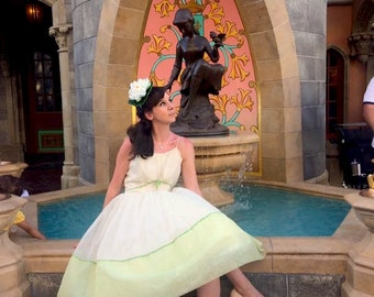 Tiana Princess and the Frog Disneybound Dapper Day 1950s 50s 1950 Green Lime Chiffon Garden Party Rockabilly Prom Cocktail Cupcake Dress